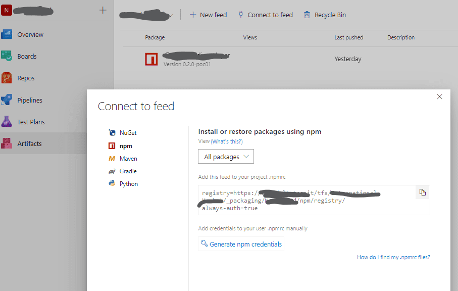 Connect to feed in old Azure DevOps layout
